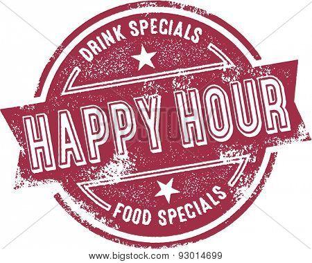 Happy Hour Bar Menu Stamp