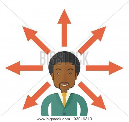 A black businessman being confused with too many directions, presenting with arrows, to make decision. A Contemporary style. Vector flat design illustration isolated white background. Square layout.