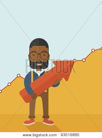 A happy and lucky young black guy holding arrow growing sign, successful in business career. Prosperity concept. A contemporary style with pastel palette soft yellow and blue tinted background. Vector