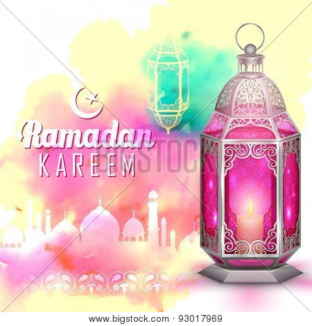 illustration of Ramadan Kareem (Generous Ramadan) greeting with illuminated lamp