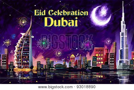 illustration of Eid Celebration Dubai city nightscape