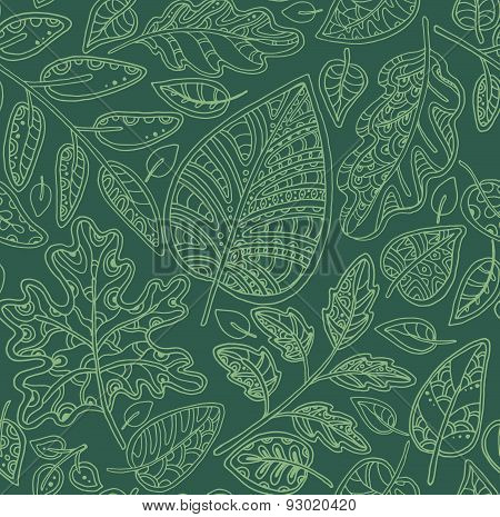 Decorative ornamental seamless pattern with leaves