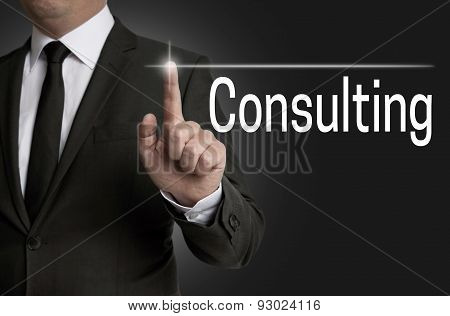 Consulting Touchscreen Is Operated By Businessman