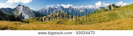 View from Karnische Alpen or Alpi Carniche to Alpi Dolomiti - Mount Siera Creta Forata and Mont Cimon - Italy poster