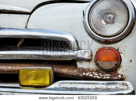 Front View Of An Old Car Closeup