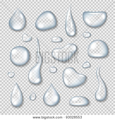 Realistic transparent water drops set on light blue background. Vector eps10 illustration