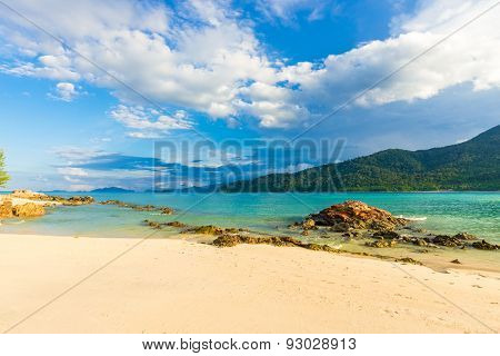 Blue Sky With Beach And Tropical Sea