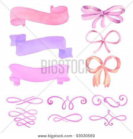 Set of watercolor elements: ribbons, pennants, bows, calligraphic elements
