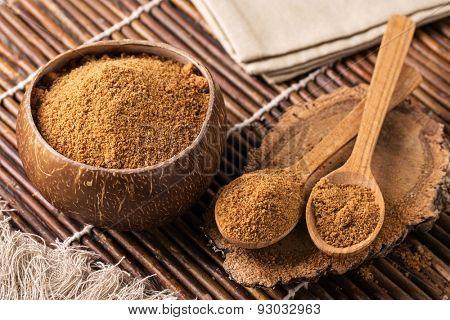 Coconut palm sugar in a bowl