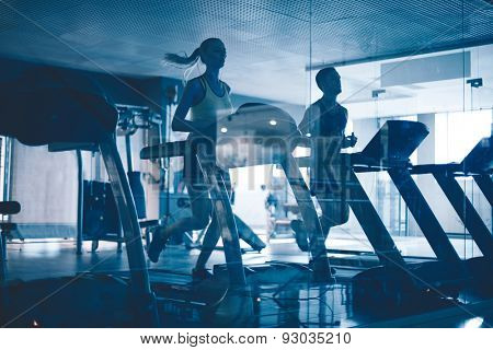 Active young people running on treadmills in sports club