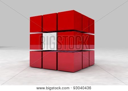 Geometric Body Made Of Red And White Cubes. 3D Render Image.