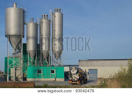Burgum, Sumar, the Netherlands, april 27, 2015. Noppert Concrete Factory. A concrete production site