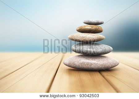 Pile of pebbles on wooden planks