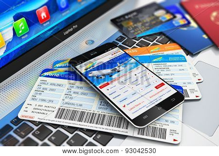 Buying air tickets online via smartphone