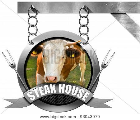 Steak House - Metal Sign With Chain