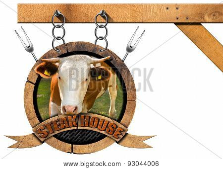 Steak House - Wooden Sign With Chain