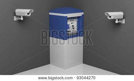 Security surveillance camera and ATM machine  poster