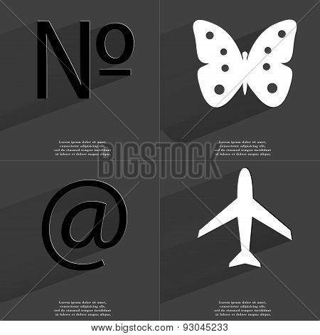 Number, Butterfly, At Sign, Airplane. Symbols With Long Shadow. Flat Design