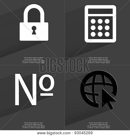 Lock, Calculator, Numero Sign, Web Icon Cursor. Symbols With Long Shadow. Flat Design