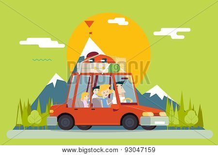 Family Father Mother Son Daughter Travel Lifestyle Concept of Planning a Summer Vacation Tourism and