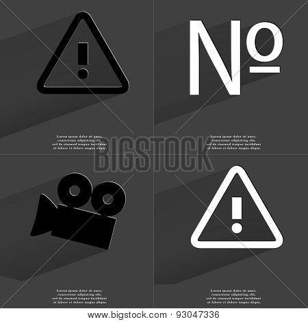 Warning, Numero Sign, Film Camera. Symbols With Long Shadow. Flat Design