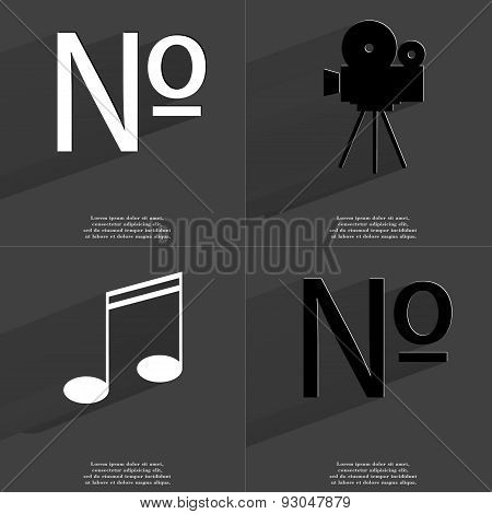 Numero Sign, Film Camera, Note Sign. Symbols With Long Shadow. Flat Design