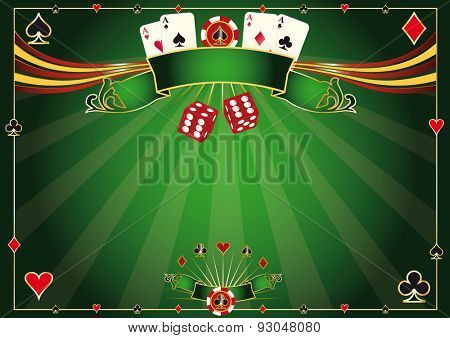 Horizontal green Casino background. A casino horizontal background for your poker tour
