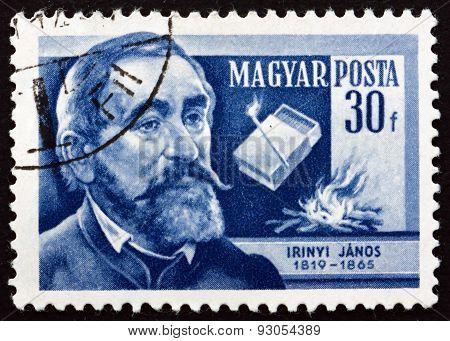 Postage Stamp Hungary 1954 Janos Irinyi, Hungarian Chemist