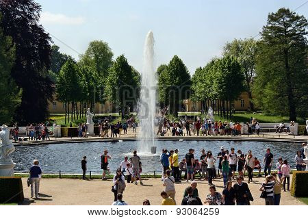 The Fountain In The Square Schloss Sanssouci