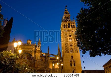 Tower Of Giralda In The Night