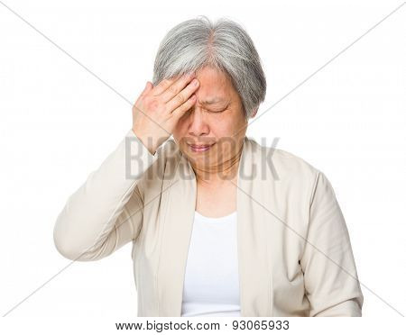 Old woman feeling headache poster