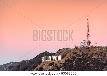 LOS ANGELES, CALIFORNIA - NOVEMBER 6, 2013: Hollywood sign in Los Angeles, California. The landmark sign dates from 1923.