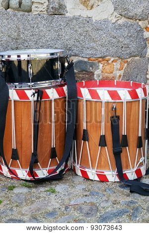 Ancient drums for parade. Color image