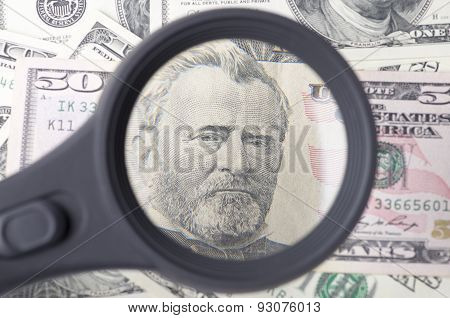 Ulysses Grant On A Fifty Dollar Over Heap Of Dollars United Statesas A Background