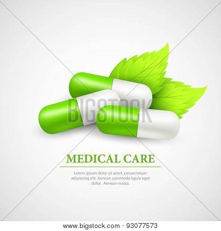 Pill Wit Leaf. Vector Illustration
