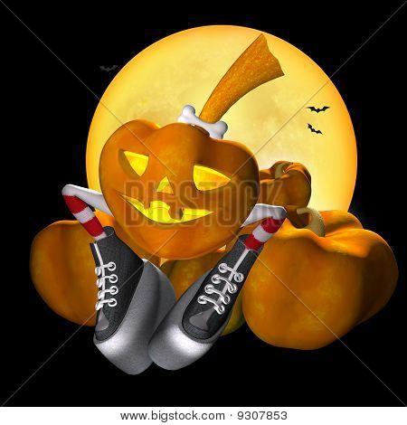 Abóbora de Halloween em meias listradas