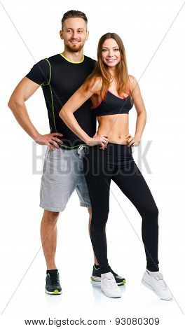 Sport Couple - Man And Woman After Fitness Exercise On The White