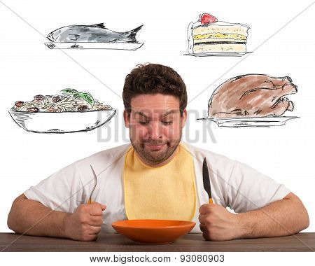 Hungry man thinks about what to eat poster