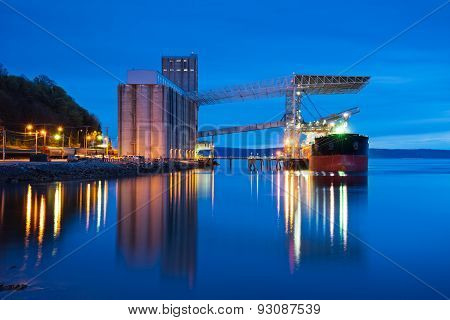 Ship Loading At Grain Terminal
