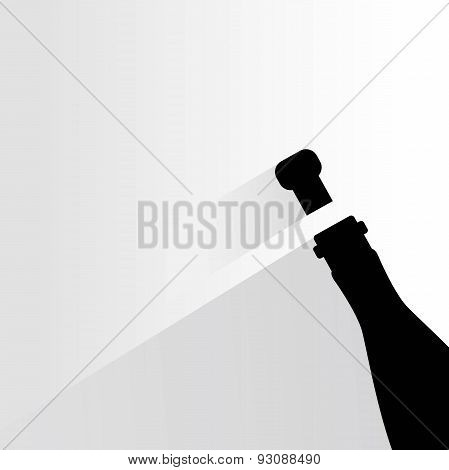 wine bottle and wine cork with drop shadow on white background poster