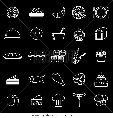 Food Line Icons On White Background