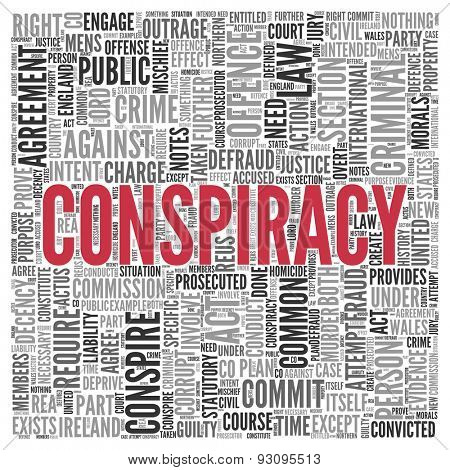 Close up CONSPIRACY Text at the Center of Word Tag Cloud on White Background.
