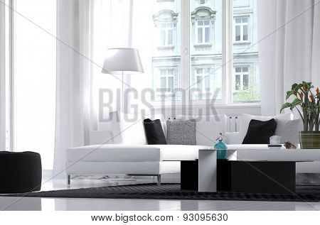 Modern apartment living room interior with white decor and black accents in the furniture with a large view window overlooking another apartment block. 3d Rendering