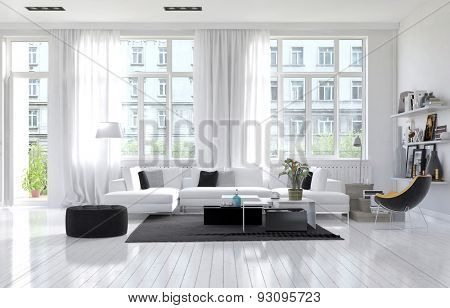 Large spacious modern white living room interior with a white parquet floor below large windows and a lounge suite arranged in a cozy corner. 3d Rendering