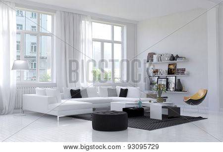 Large spacious white living room interior with large windows and a corner settee and chairs grouped on a rug with shelves of personal ornaments and mementos on the wall. 3d Rendering