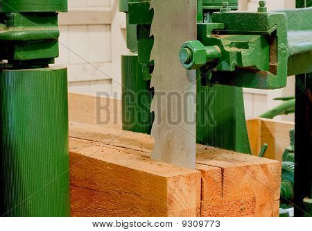 Large Bandsaw Cutting A Timber