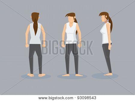 Three Views Of Slim Woman In White Tank Top And Black Leggings