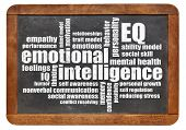emotional intelligence (EQ) word cloud on an isolated vintage blackboard poster