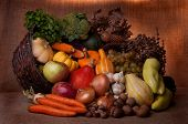Fall cornucopia setting - symbol of food and abundance poster