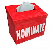 Nominate word on a red suggestion box to illustrate submitting an application or candidate for consideration poster